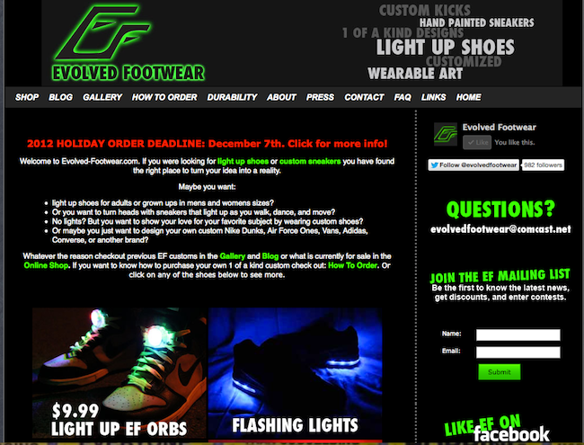 Old Evolved Footwear Website