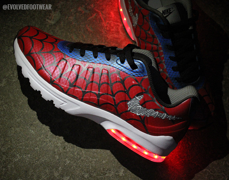 SpiderMan adult light up shoes custom nikes evolved footwear