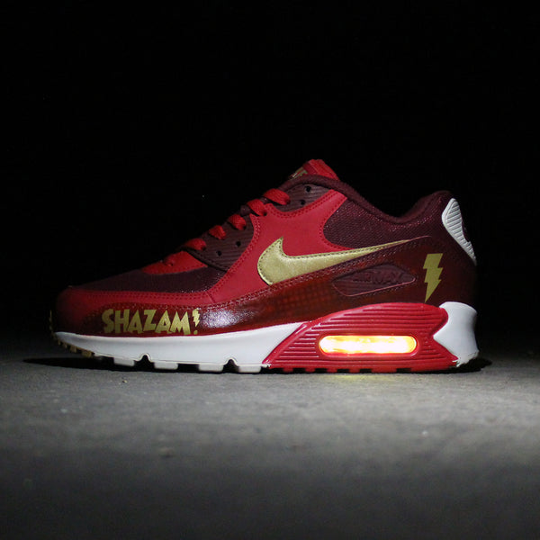 1aeef63802dd SHAZAM NIKE AIR MAX 90 CUSTOM WITH YELLOW LIGHTS