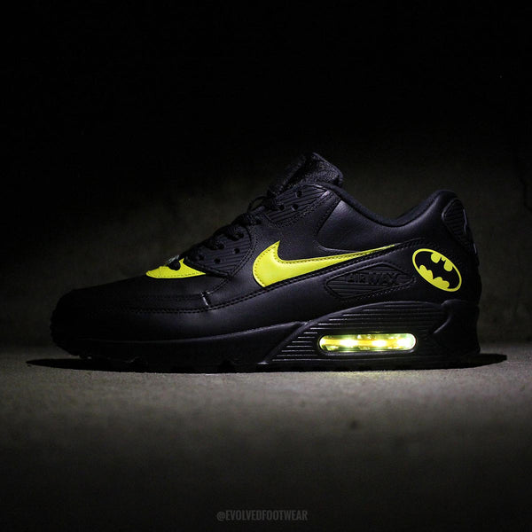 BATMAN NIKE AIR MAX 90 WITH YELLOW LED LIGHTS & LED Light Up Sneakers | Light Up Shoes For Adults [Custom Nikes] azcodes.com