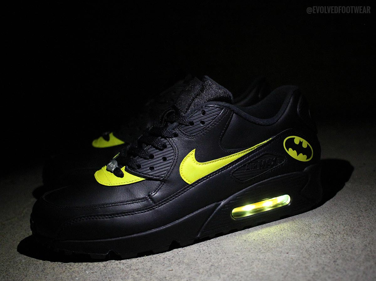 e4570c3b3993 ... YellowWhiteGreyBlack BATMAN NIKE AIR MAX 90 WITH YELLOW LED LIGHTS ...