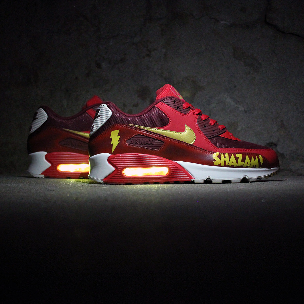 sale batman nike air max 90 with yellow led lights e54b9 d3ee2