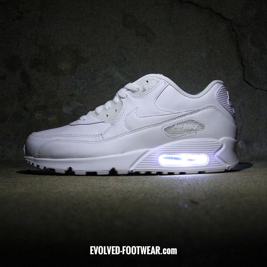 08773f5b43 ... MEN S TRIPLE WHITE NIKE AIR MAX 90 WITH LED LIGHTS Provide Your Own Air  Max Shoes For ...