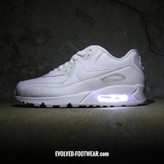 MEN'S TRIPLE WHITE NIKE AIR MAX 90 WITH LED LIGHTS - Evolved Footwear