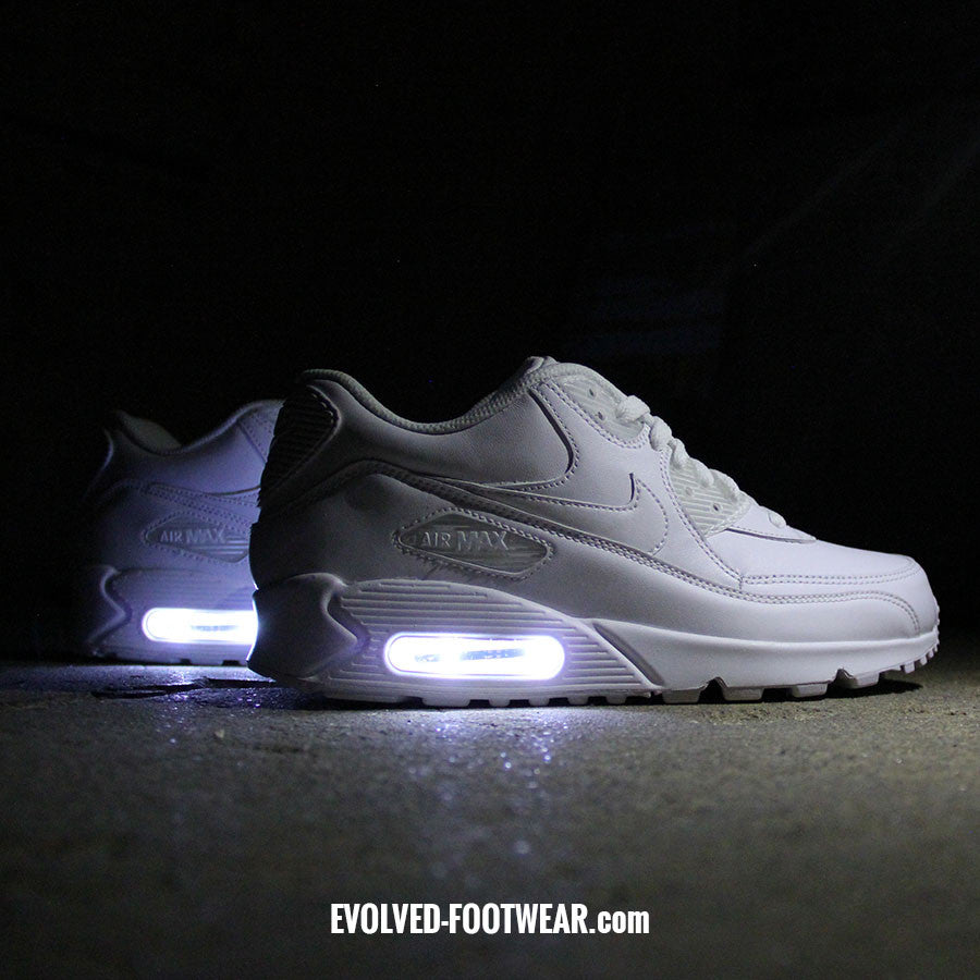 brand new cf880 63c53 TRIPLE WHITE NIKE AIR MAX 90 WITH LED LIGHTS