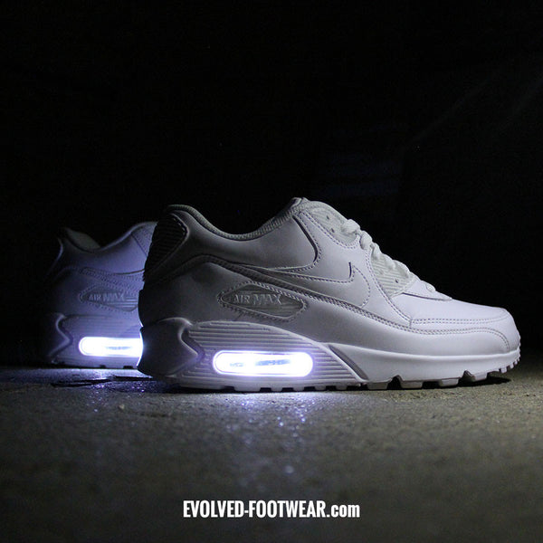 MEN'S TRIPLE WHITE NIKE AIR MAX 90 WITH LED LIGHTS