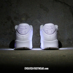 TRIPLE WHITE NIKE AIR MAX 90 WITH LED LIGHTS - Evolved Footwear