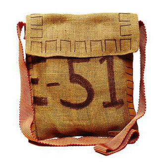 Vintage Burlap Shoulder Bag with Flap