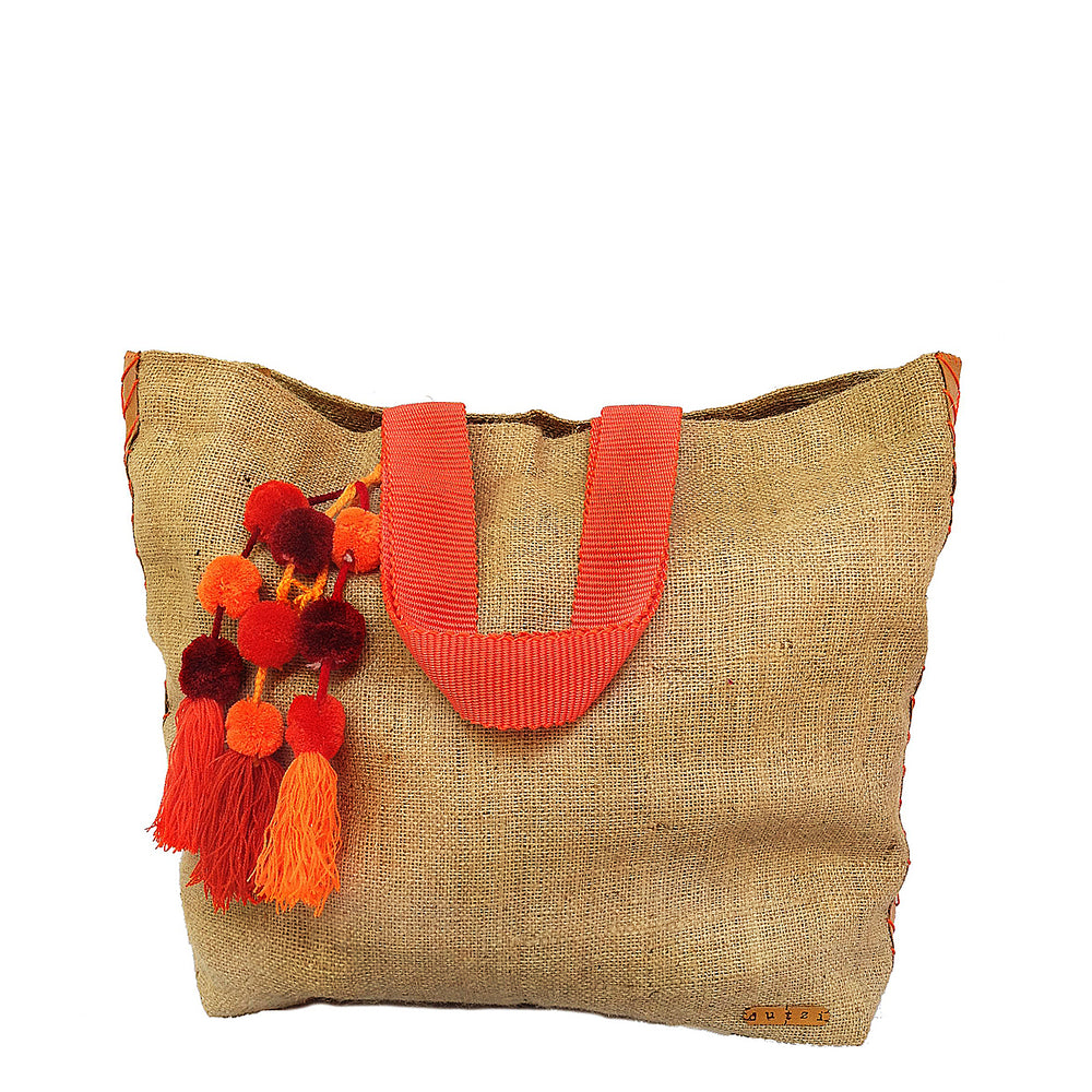 Vintage Burlap large tote with pompom