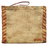 Vintage Burlap Pouch with Suede/Leather Side Trim