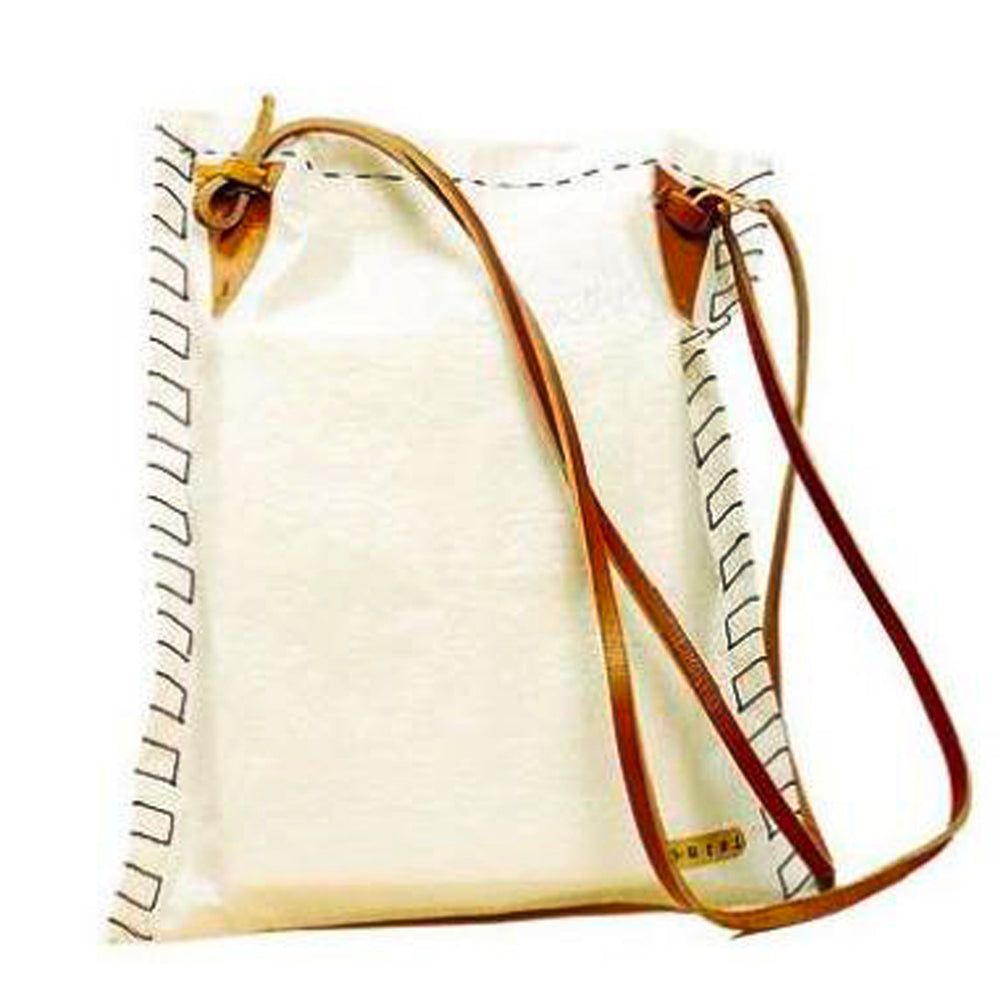 White Raffia Messenger Bag with Leather Strap