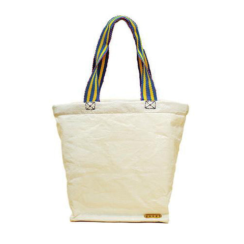 White Raffia Beach Bag with Colorful Strap
