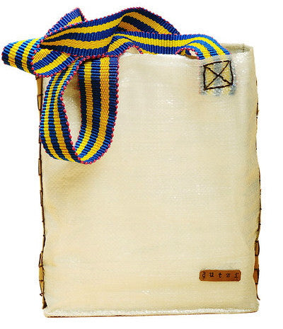 White Raffia & Leather Tote with Colorful Mecapal Strap