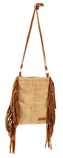 Vintage Burlap Side Fringe Shoulder Bag