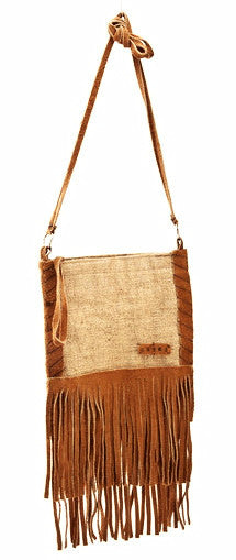Vintage Burlap Bottom Fringe Shoulder Bag