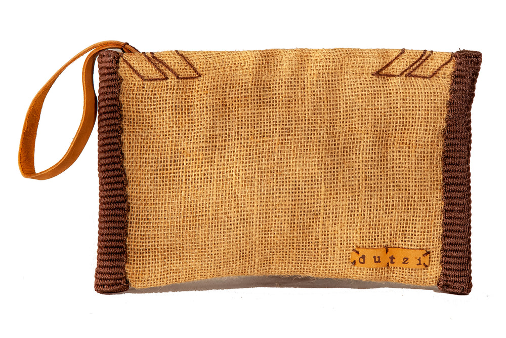 Vintage Burlap Pouch with Colorful Side Trim