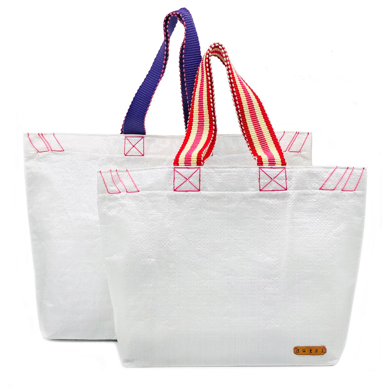 White Raffia Tote with Colorful Strap