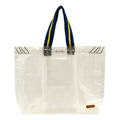 Transparent Raffia Tote with Colorful Strap