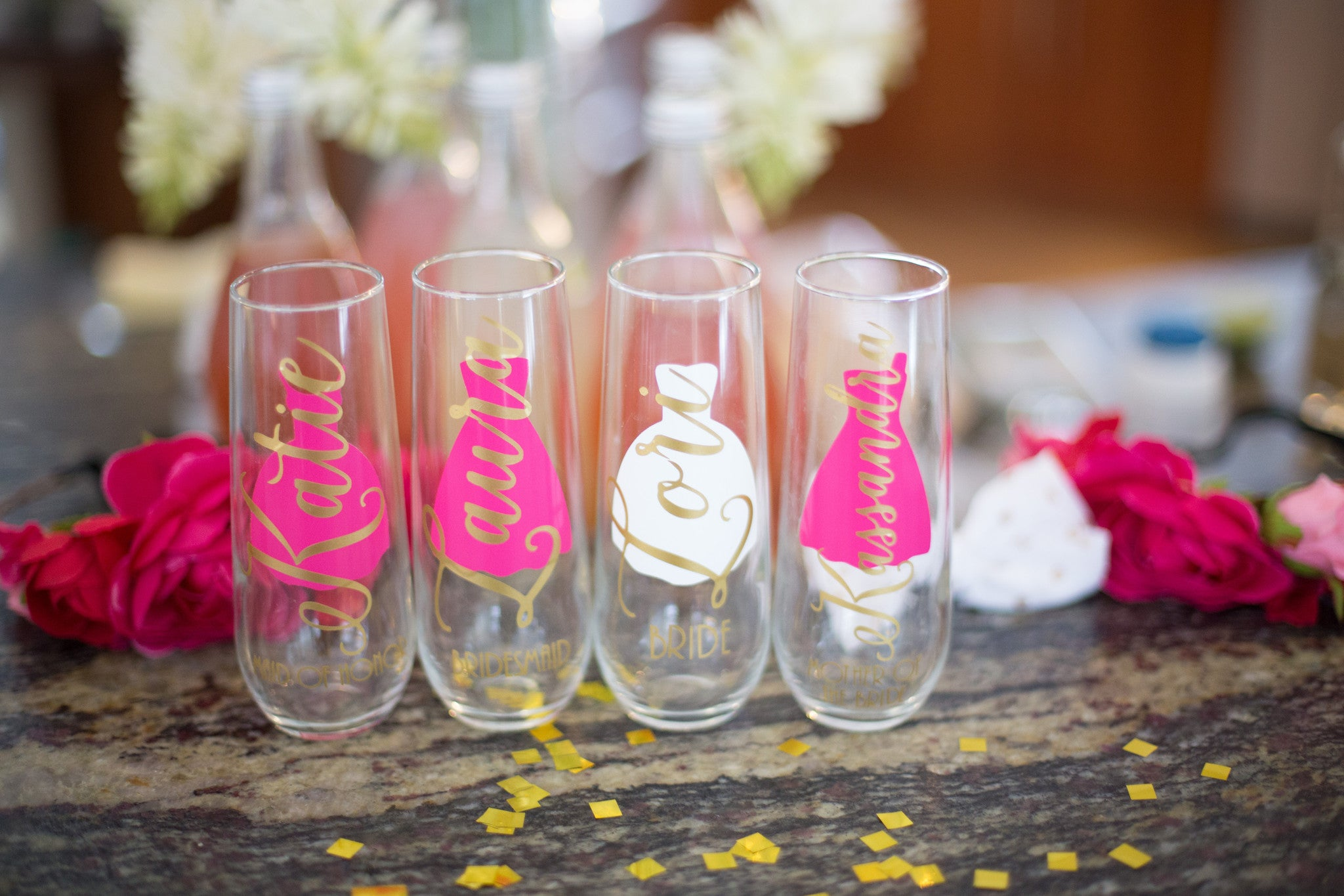 Personalized Bridesmaid gift ideas. Custom wedding glasses and apparel