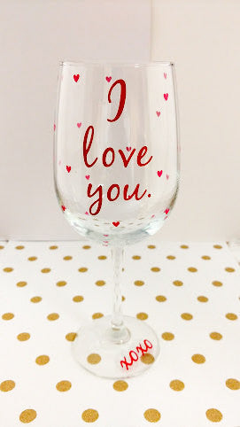 Valentine S Day Gift I Love You Wine Glass For Her Waterfalldesigns