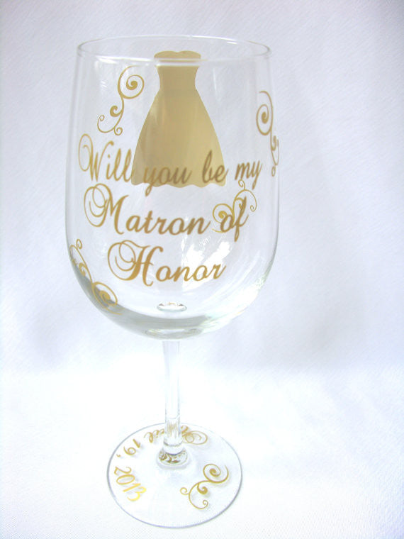 will you be my bridesmaid wine glass for bridesmaids matron of