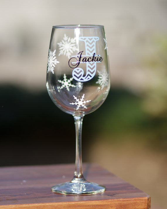 chevron christmas wine glass black and red with snowflakes