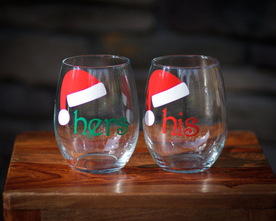 Mr. and Mrs. stemless wine glasses (2) with santa hats ...