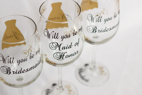 gold and black will you be my bridesmaid wine glass for