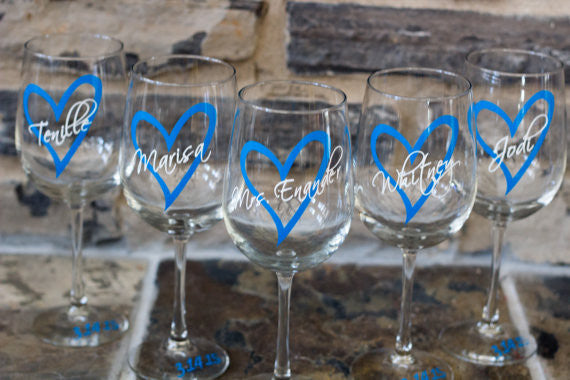 Wedding party wine glasses. Heart with name over. Future mrs glass ...
