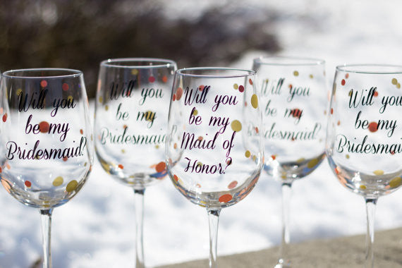 will you be my bridesmaid wine glasses waterfalldesigns