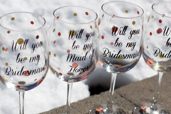 Will You Be My Bridesmaid Maid Of Honor Wine Glasses