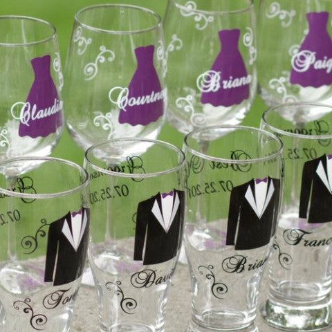 Bridal Party Stemless Champagne Flutes - WaterfallDesigns