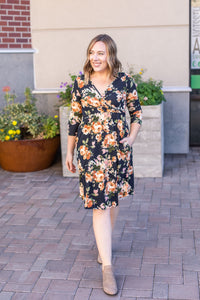 Taylor Dress - Black and Yellow Floral