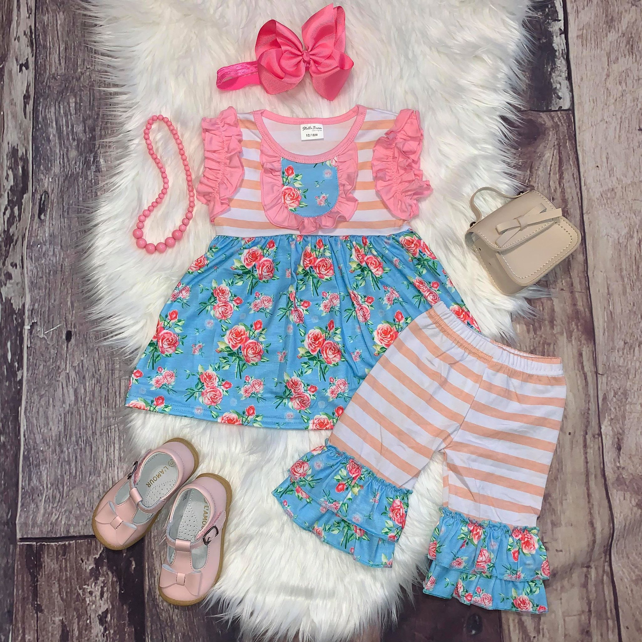 Blue and Pink Floral Tunic and Capri Set