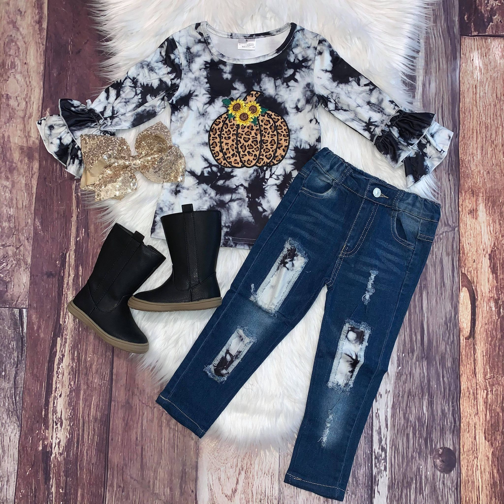 Bleached Leopard Pumpkin Distressed Denim Set