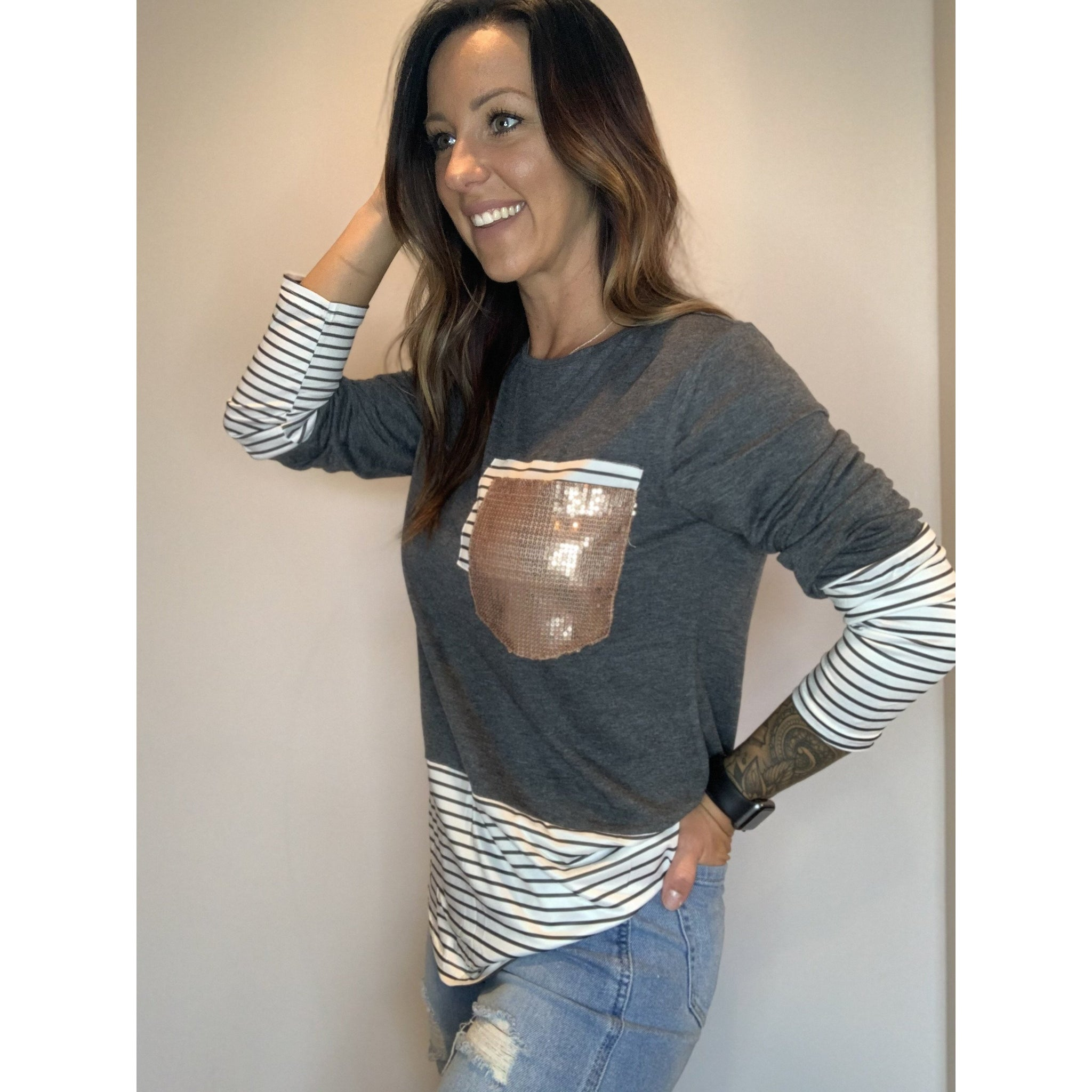 Gray Long Sleeve With Sequins Pocket - RTS