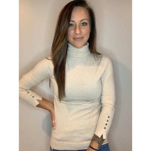 Turtleneck with Detail - Cream/Tan - RTS