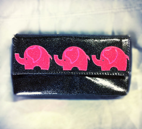 Pink elephants wristlet/clutch