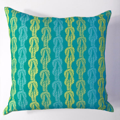 Knotted Up - Aqua Pillow Cover