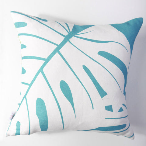 Monstera - Aqua Pillow Cover