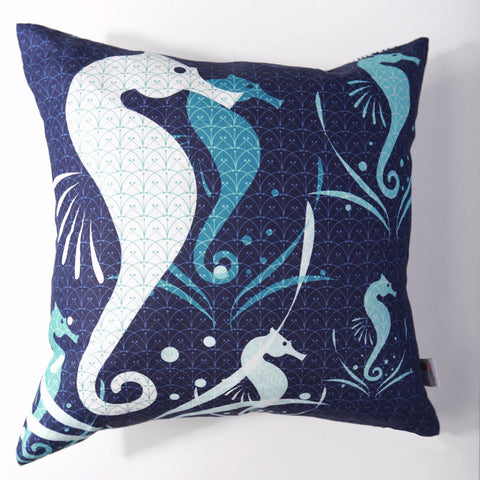 Seahorse - Midnight Pillow Cover
