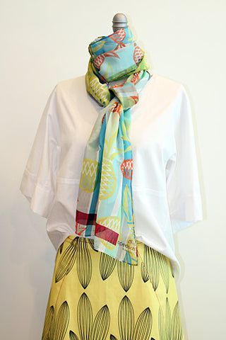 Pineapple Sun Yellow 100% Silk Scarf