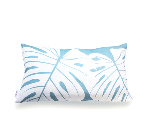 Monstera Lumbar Pillow Cover- Aqua