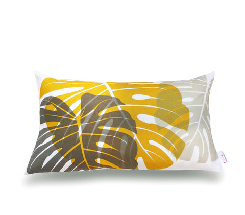 Monstera Lumbar Pillow Cover- Mushroom