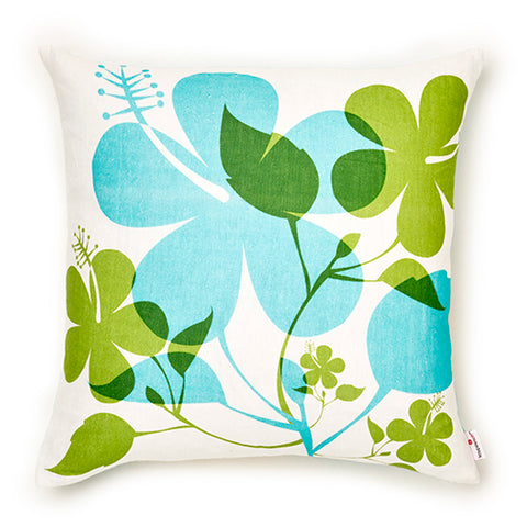 Hibiscus - Aqua Pillow Cover