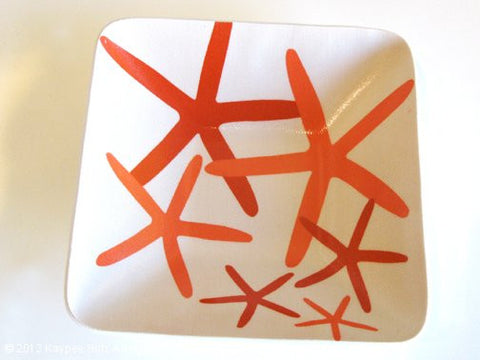 Starfish Small Square Bowl - Fire