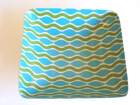 Wave Large Square Bowl - Aqua