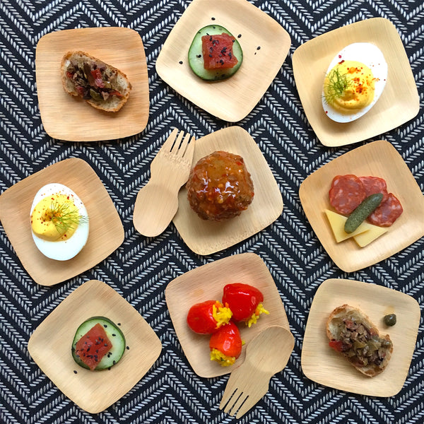 Holiday Appetizers on Veneerware Bamboo Plates