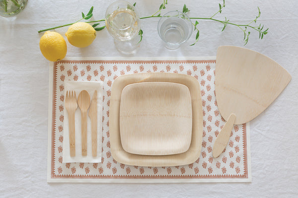 bamboo disposable plates and cutlery