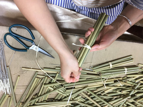 inspecting and packing bamboo straws